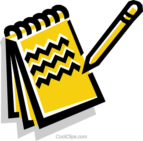 notepad and pencil Royalty Free Vector Clip Art illustration busi1135