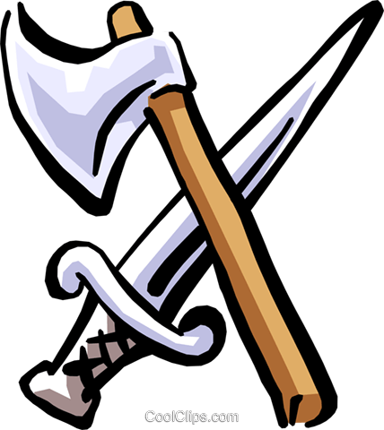 axe and sword Royalty Free Vector Clip Art illustration cart1850