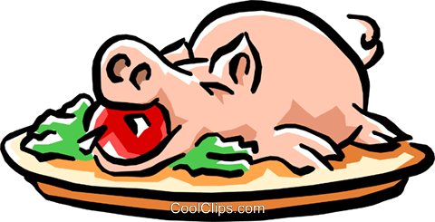 stuffed pig with apple Royalty Free Vector Clip Art illustration food0734