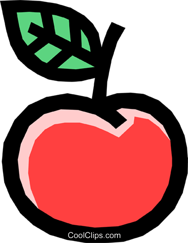 Apple with leaf Royalty Free Vector Clip Art illustration food0739