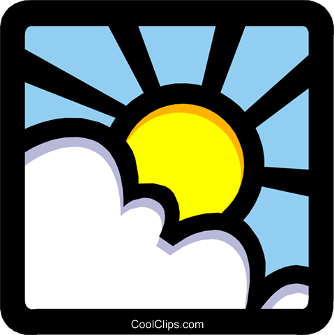 Sun and clouds Royalty Free Vector Clip Art illustration natu0679