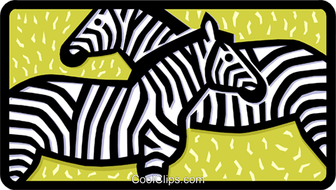 zebras Royalty Free Vector Clip Art illustration anim1454