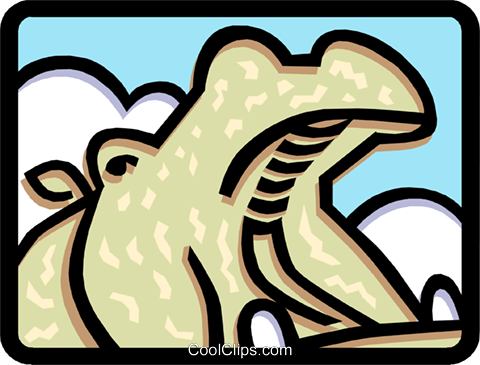 Hippo yawning Royalty Free Vector Clip Art illustration anim1455