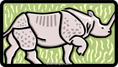 rhino Royalty Free Vector Clip Art illustration anim1458