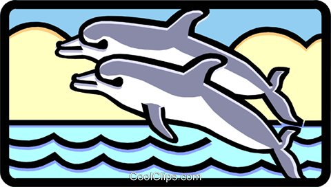 dolphins Royalty Free Vector Clip Art illustration anim1462