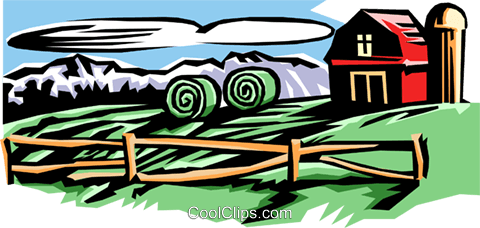 Farm with barn and silo Royalty Free Vector Clip Art illustration arch0374