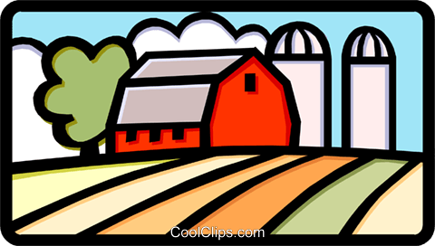 Farm with silo Royalty Free Vector Clip Art illustration arch0377