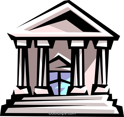 courthouse or bank building Royalty Free Vector Clip Art illustration busi1157