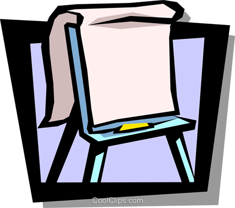 easel with flipchart Royalty Free Vector Clip Art illustration busi1179