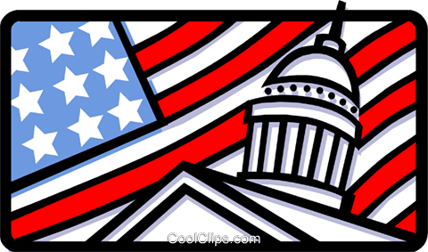 Capitol building and American flag Royalty Free Vector Clip Art illustration busi1186