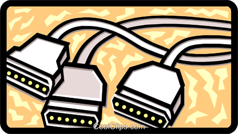 computer cables Royalty Free Vector Clip Art illustration busi1195