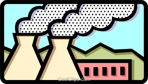 Smoke stacks Royalty Free Vector Clip Art illustration envi0199