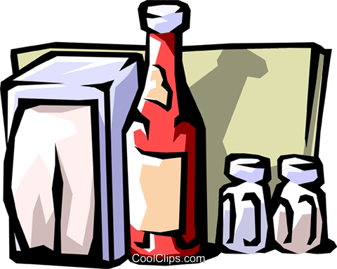 condiments, with napkins, restaurants Royalty Free Vector Clip Art illustration food0745