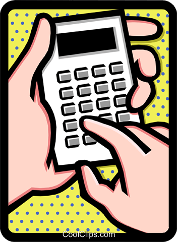 hands on calculator Royalty Free Vector Clip Art illustration hand0247