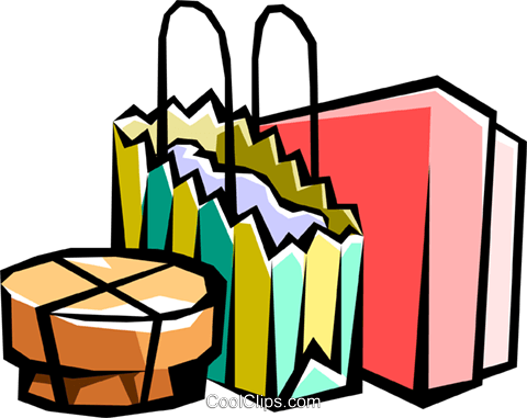 Shopping parcels Royalty Free Vector Clip Art illustration hous1000