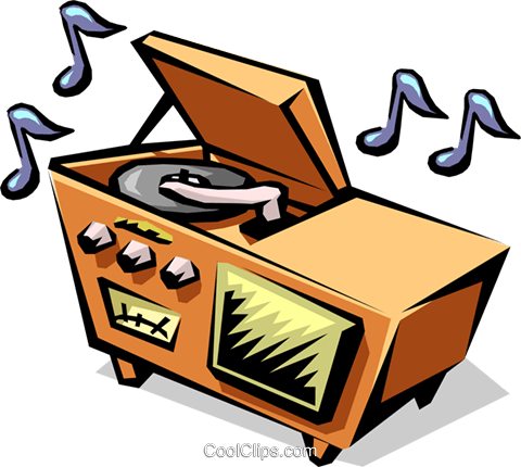 50's style home stereo system Royalty Free Vector Clip Art illustration hous1002
