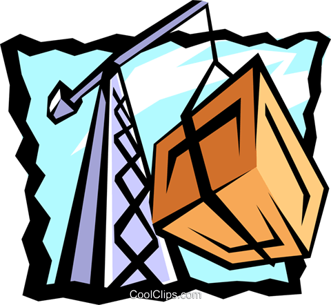 crane with cargo Royalty Free Vector Clip Art illustration indu0728
