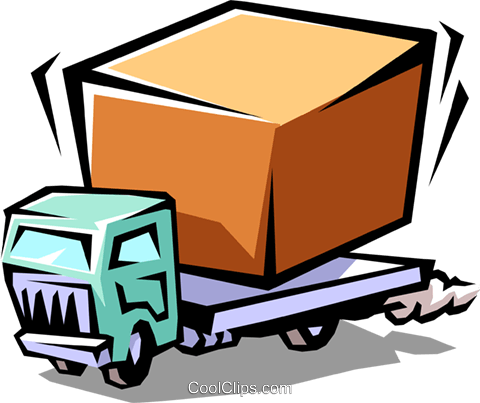 delivery truck with package Royalty Free Vector Clip Art illustration indu0729