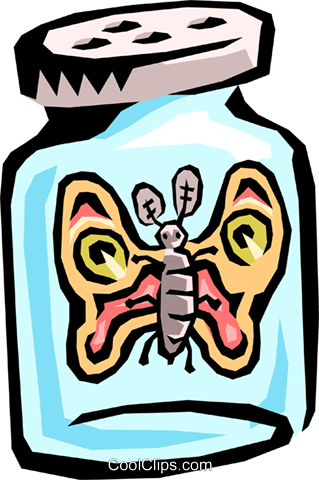 butterfly in a bottle Royalty Free Vector Clip Art illustration anim1478