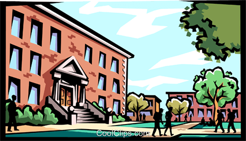 School building with kids Royalty Free Vector Clip Art illustration arch0388