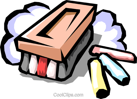 eraser with chalk Royalty Free Vector Clip Art illustration busi1201