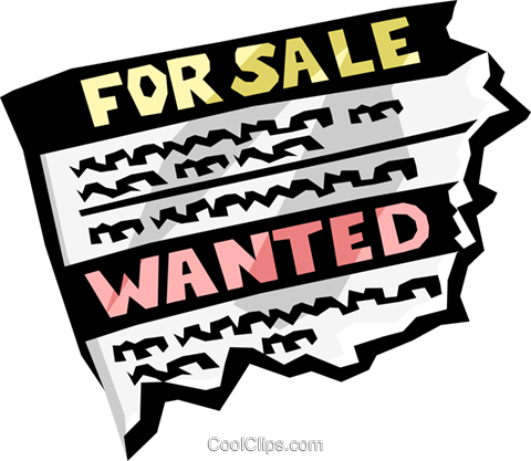 for sale/wanted advertisement Royalty Free Vector Clip Art illustration busi1202