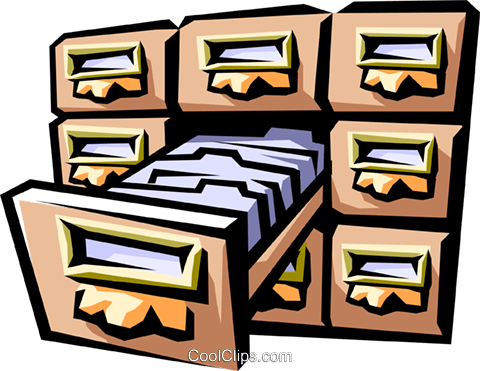 card index/filing cabinet Royalty Free Vector Clip Art illustration busi1212