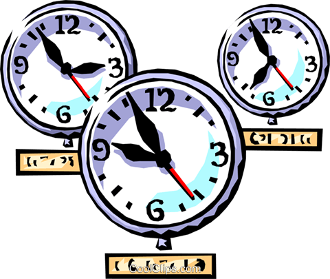 clocks international time zones Royalty Free Vector Clip Art illustration busi1228