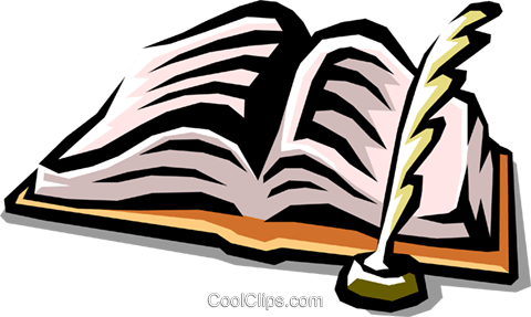 book and quill pen Royalty Free Vector Clip Art illustration busi1230