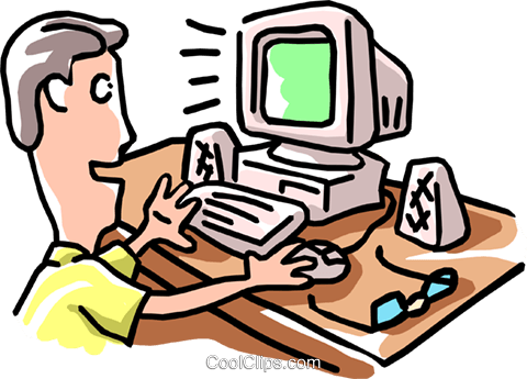 man working at computer Royalty Free Vector Clip Art illustration cart1880