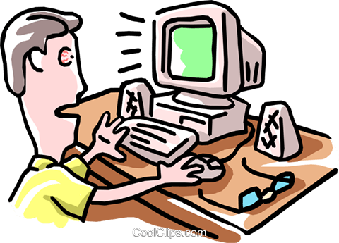 man working at computer Royalty Free Vector Clip Art illustration cart1881
