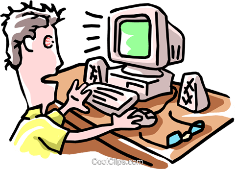 man working at computer Royalty Free Vector Clip Art illustration cart1882