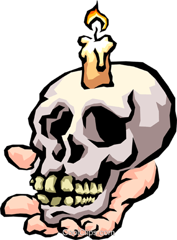 Skull with candle Royalty Free Vector Clip Art illustration cart1886