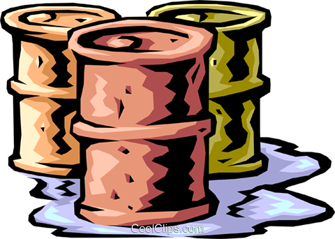 oil drums leaking, business Royalty Free Vector Clip Art illustration envi0200