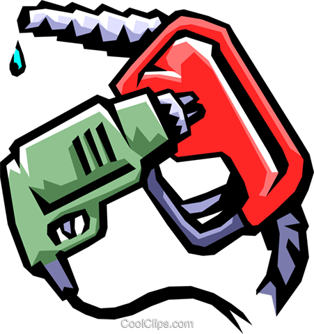 gas station drill and gas hose Royalty Free Vector Clip Art illustration envi0203