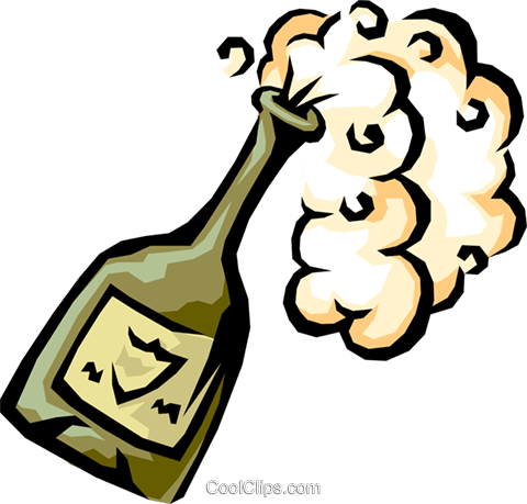 champagne bottle popping Royalty Free Vector Clip Art illustration food0752