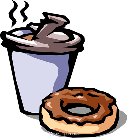 coffee and chocolate donut Royalty Free Vector Clip Art illustration food0753