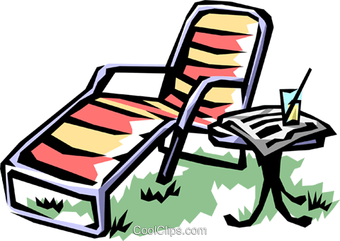 Lounge chair with lemonade Royalty Free Vector Clip Art illustration hous1019