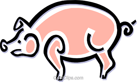 pig Royalty Free Vector Clip Art illustration anim1496