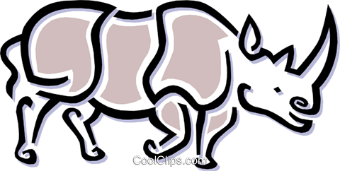 rhinoceros Royalty Free Vector Clip Art illustration anim1499