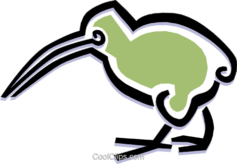 bird kiwi bird Royalty Free Vector Clip Art illustration anim1508