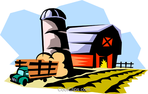 farm landscape Royalty Free Vector Clip Art illustration arch0396