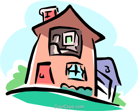 non-realistic house Royalty Free Vector Clip Art illustration arch0397