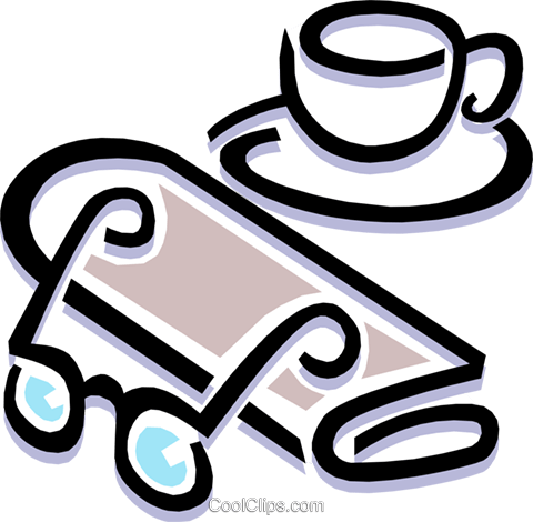 coffee cup with morning newspaper Royalty Free Vector Clip Art illustration busi1235
