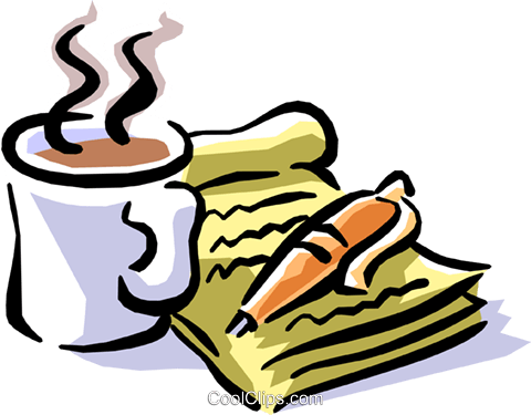 coffee at the start of a business day Royalty Free Vector Clip Art illustration busi1256