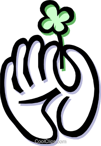 Hand holding four leafed clover Royalty Free Vector Clip Art illustration hand0252