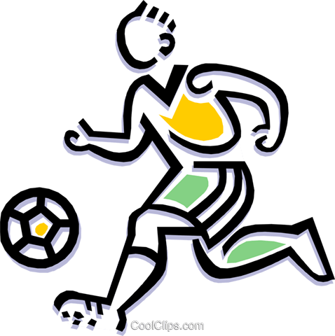 Soccer player dribbling ball Royalty Free Vector Clip Art illustration peop1822