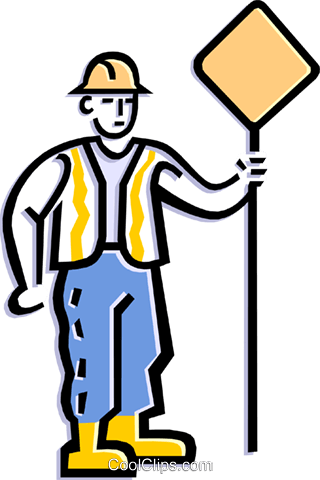worker holding sign Royalty Free Vector Clip Art illustration peop1834
