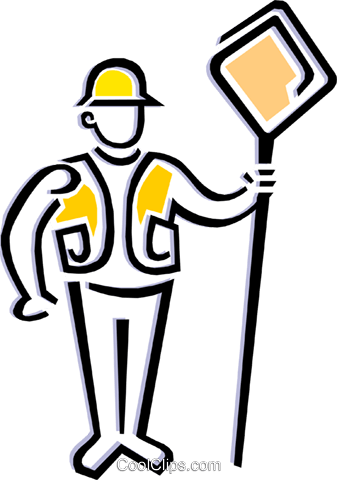 Worker holding road sign Royalty Free Vector Clip Art illustration peop1839
