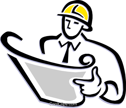 contractor reading plans Royalty Free Vector Clip Art illustration peop1840